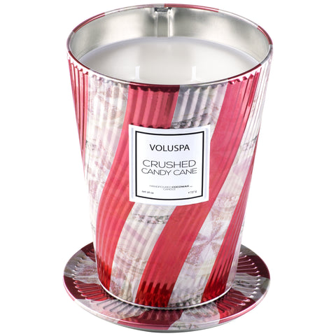 2 Wick Tin Table Candle in Crushed Candy Cane design by Voluspa