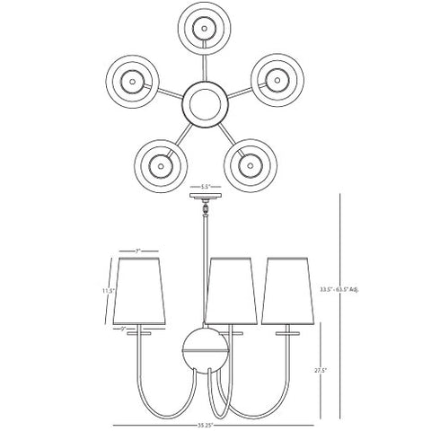 Large Fineas Chandelier in Various Finishes design by Robert Abbey
