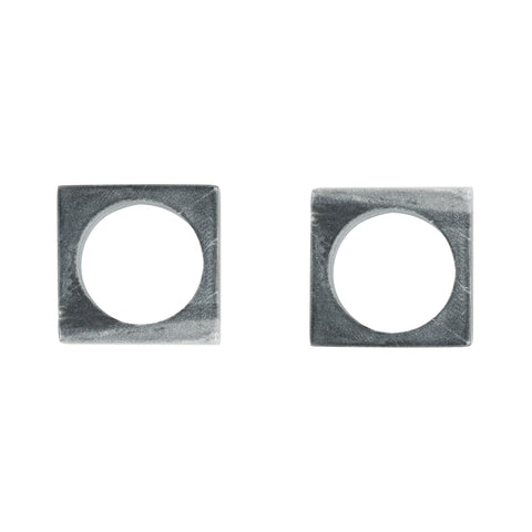 Set of 2 Modernist Napkin Rings in Grey Marble