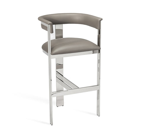 Darcy Bar Stool Grey Nickel Design By Interlude Home