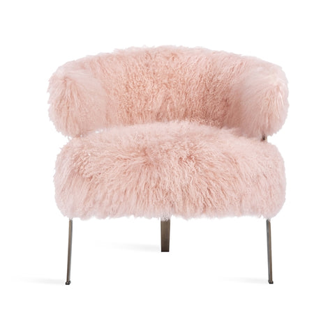 Adele Lounge Chair in Blush Sheepskin design by Interlude Home