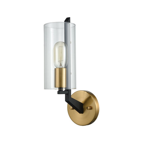 Blakeslee 1 Wall Sconce in Matte Black & Satin Brass