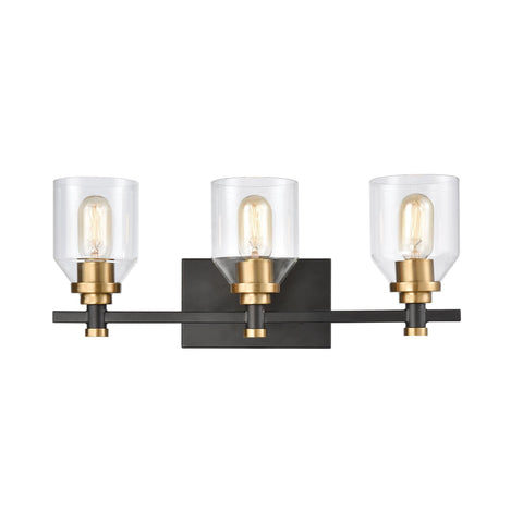 Cambria 3-Light Vanity Light in Matte Black with Clear Glass by BD Fine Lighting