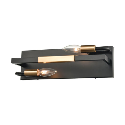 Heathrow 2-Light Vanity Light in Matte Black and Satin Brass by BD Fine Lighting