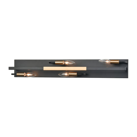 Heathrow 4-Light Vanity Light in Matte Black and Satin Brass by BD Fine Lighting