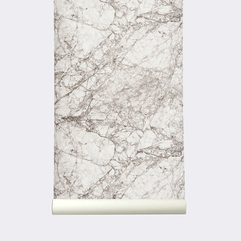 Marble Wallpaper in Grey and White by Ferm Living