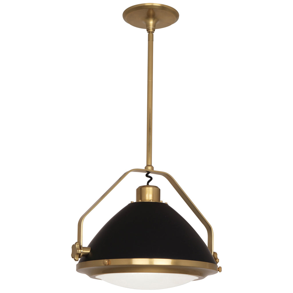 Apollo Pendant in Antique Brass Finish w/ Matte Black Painted Accents design by Robert Abbey