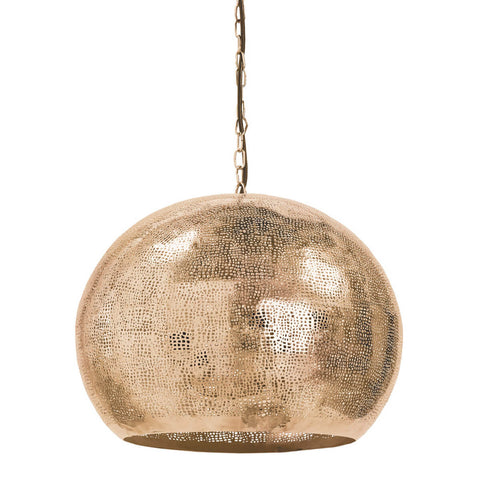 Pierced Metal Sphere Pendant in Natural Brass design by Regina Andrew