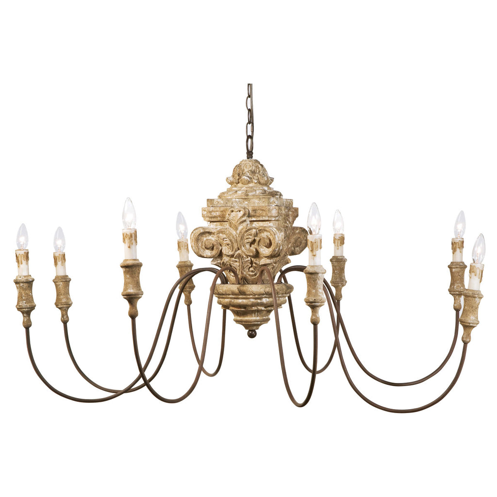 Wood Carved Chandelier design by Regina Andrew