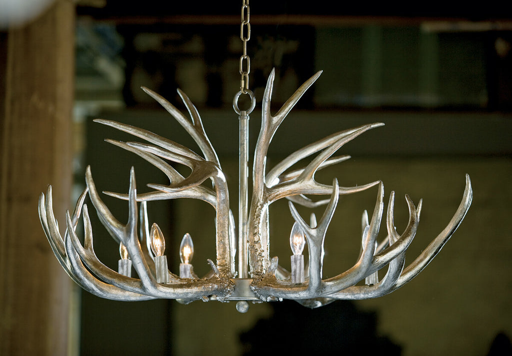 Antler Chandelier in Ambered Silver Leaf design by Regina Andrew