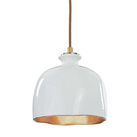 Bianca Ceramic Pendant in Gloss White & Gold design by Regina Andrew