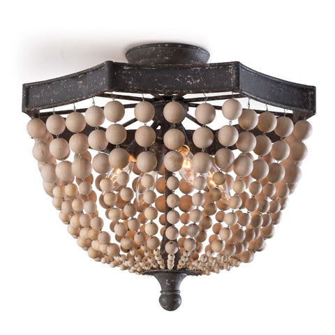 Wood Beaded Semi Flush Mount