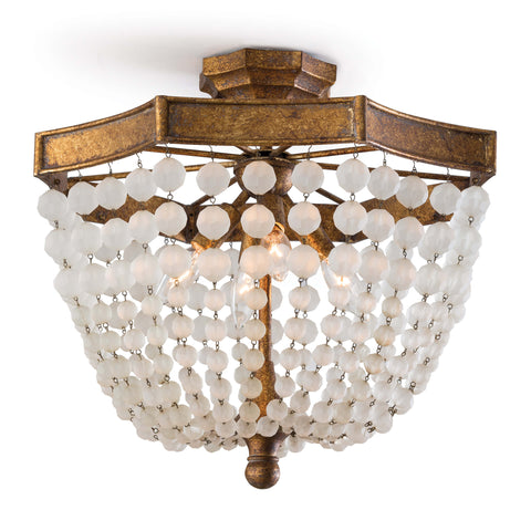 Frosted Crystal Bead Semi Flush Mount design by Regina Andrew