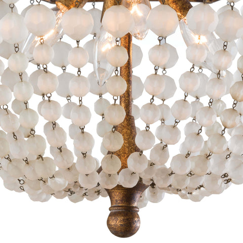 Frosted Crystal Bead Semi Flush Mount