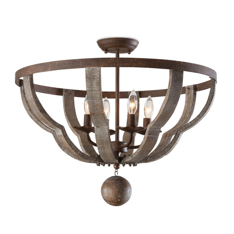 Wooden Quatrefoil Semi Flush