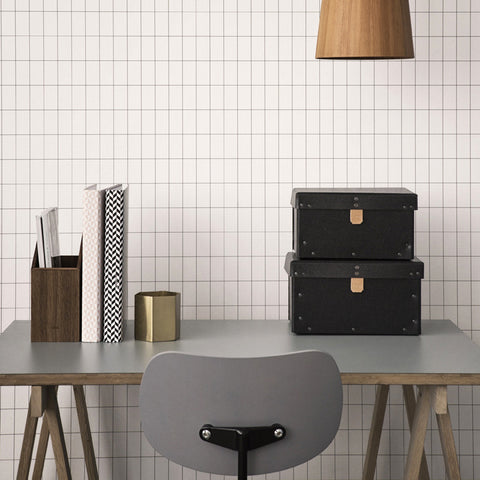 Grid Wallpaper in Black/White by Ferm Living