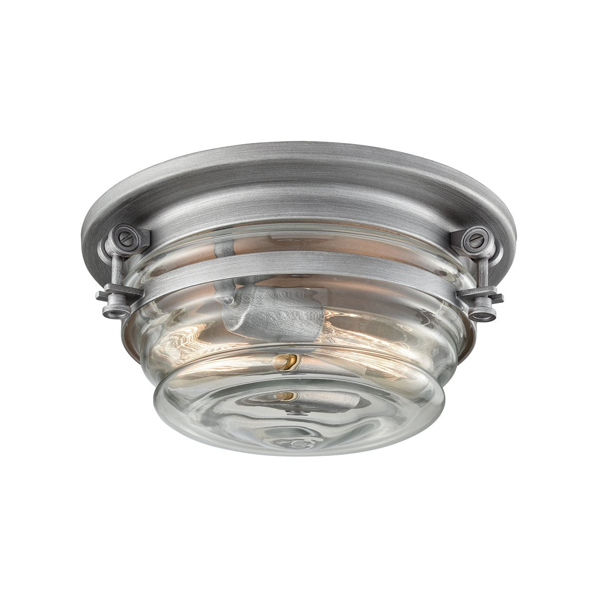 Riley 2 Flush Mount in Weathered Zinc design by BD Fine Lighting