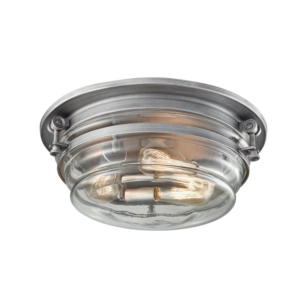 Riley 3 Flush Mount in Weathered Zinc