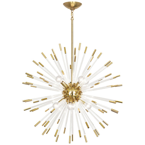 Andromeda Chandelier in Modern Brass Finish w/ Clear Acrylic Rods design by Robert Abbey