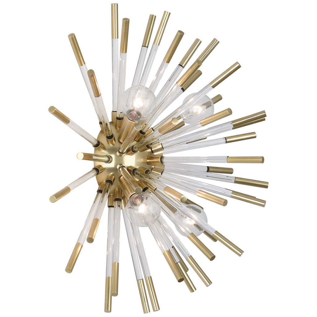 Andromeda Wall Sconce in Modern Brass Finish w/ Clear Acrylic Accents by Robert Abbey