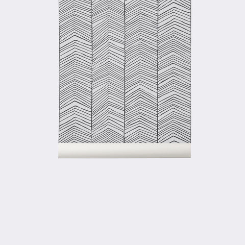 Herringbone Wallpaper in Black and White by Ferm Living