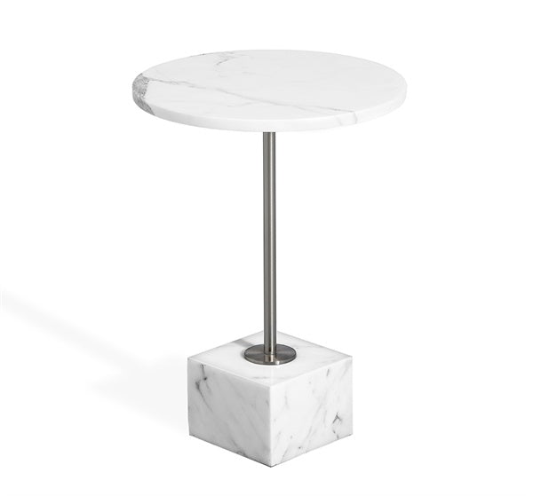 Rian Marble Side Table - Arabescato design by Interlude Home