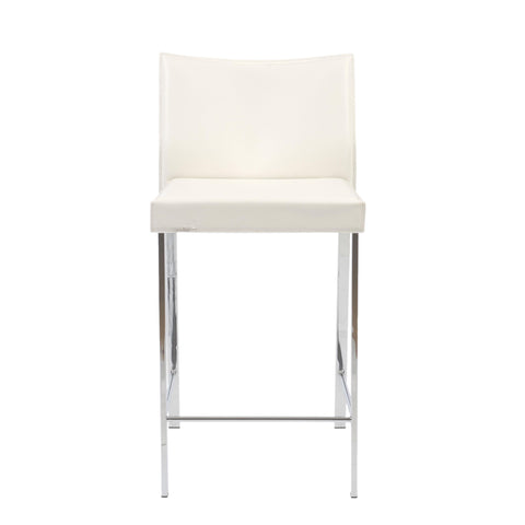 Set of Two Riley-B Bar + Counter Stools in White Leather