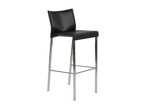 Set of Two Riley-B Bar Stools in Black Leather design by Euro Style