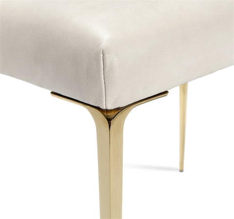Stiletto Stool Cream Leather Brass Design By Interlude Home