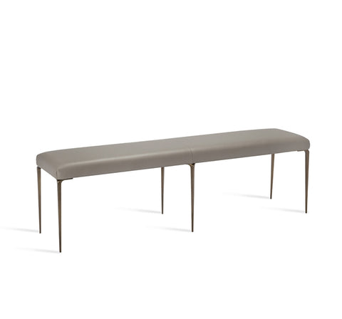 Stiletto Bench Grey Leather Bronze Design By Interlude Home