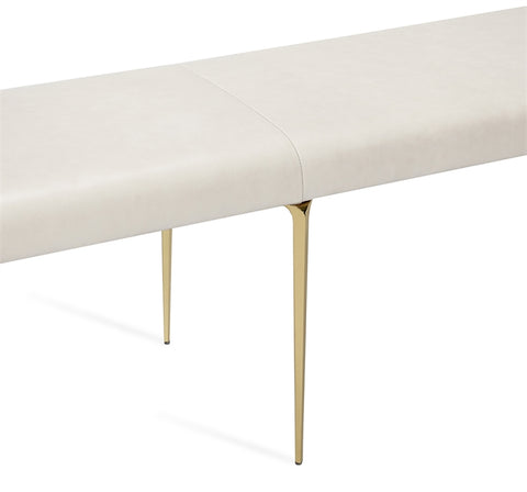 Stiletto Bench Cream Leather Brass Design By Interlude Home