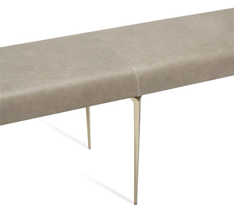 Stiletto Bench Taupe Leather Brass Design By Interlude Home