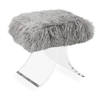 Serena Gray Sheep Skin Stool design by Interlude Home