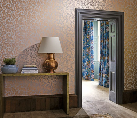 British Isles Damask Wallpaper in silver from the Manarola Collection by Osborne & Little