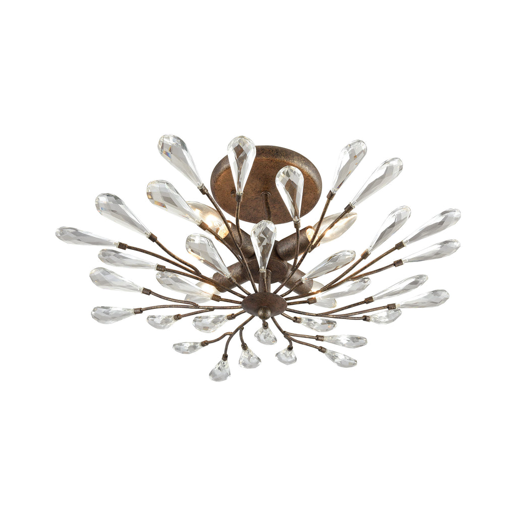 Crislett 4-Light Semi Flush in Sunglow Bronze with Clear Crystal by BD Fine Lighting