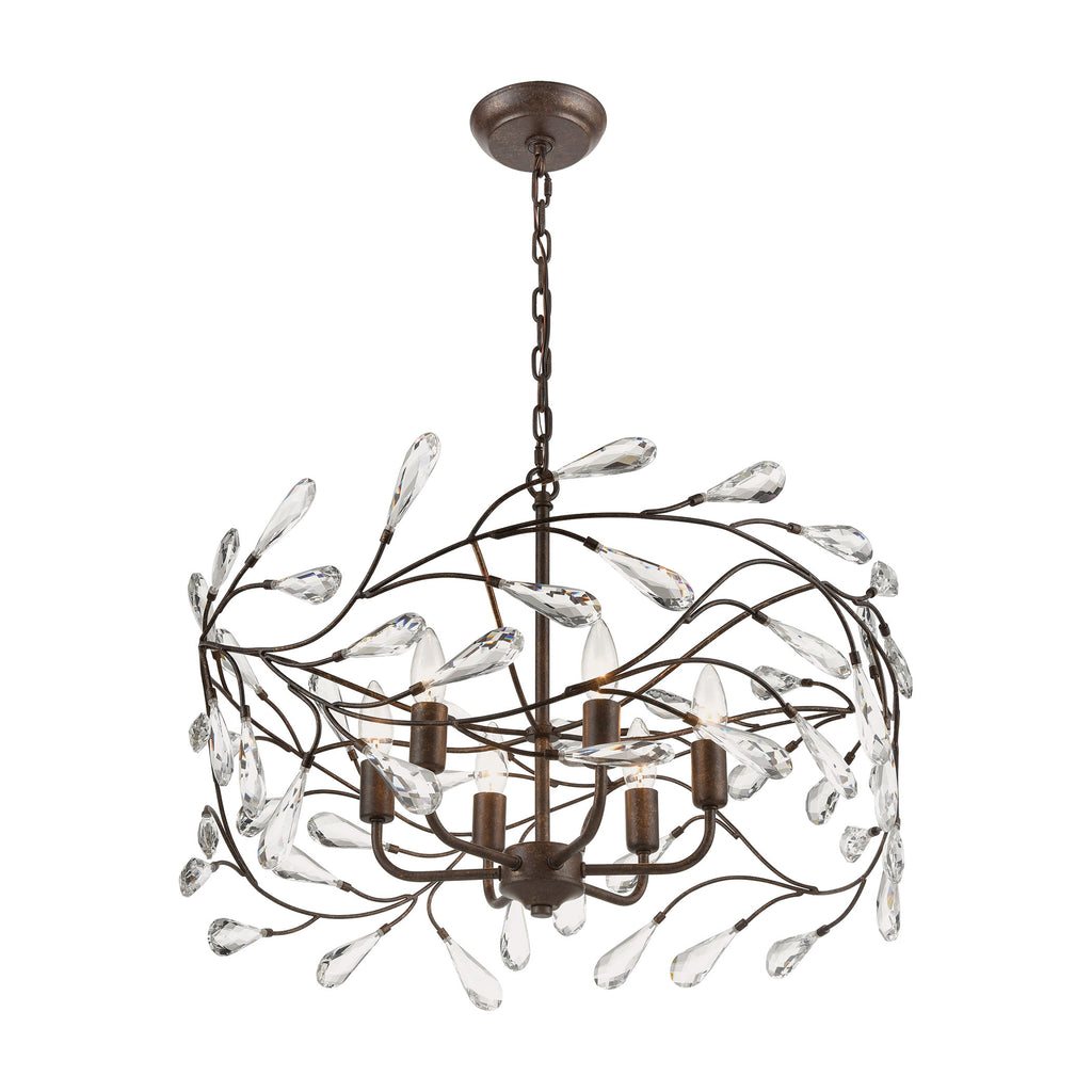 Crislett 6-Light 13 x 23 x 23 Chandelier in Sunglow Bronze with Clear Crystal by BD Fine Lighting