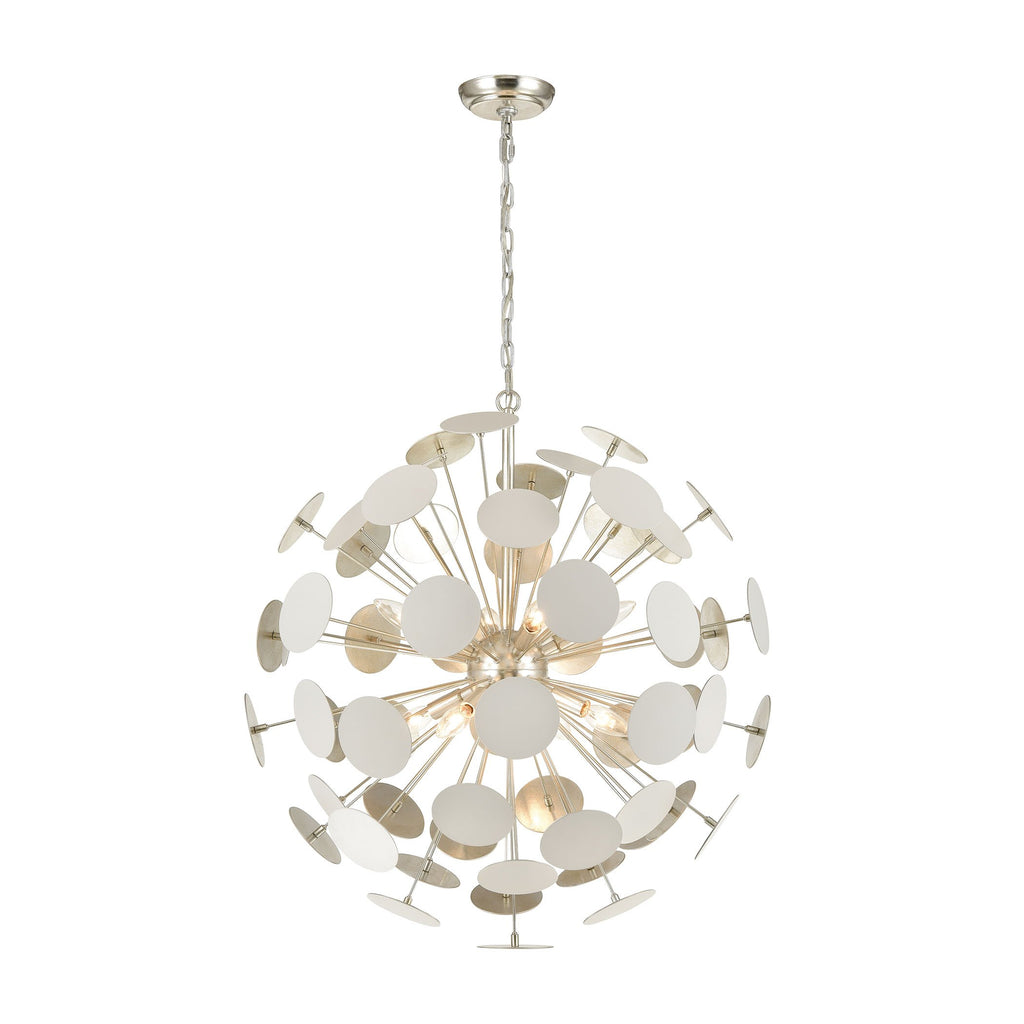 Modish 8-Light Chandelier in Matte White with White Discs by BD Fine Lighting