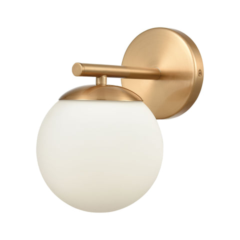 Hollywood Blvd. 1-Light Vanity Light in Satin Brass with Opal White Glass by BD Fine Lighting