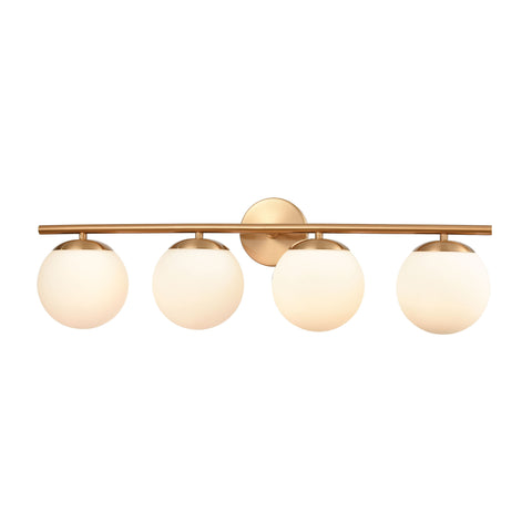 Hollywood Blvd. 4-Light Vanity Light in Satin Brass with Opal White Glass by BD Fine Lighting