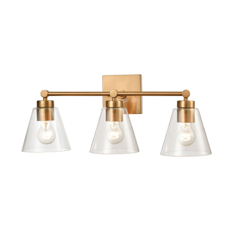 East Point 3-Light Vanity Light in Satin Brass with Clear Glass by BD Fine Lighting