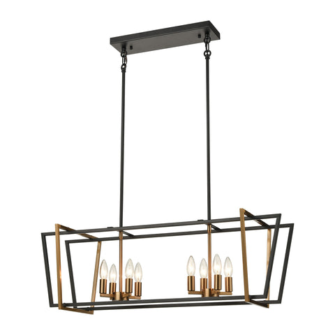 Bridgette 8-Light Island Light in Matte Black and Satin Brass by BD Fine Lighting