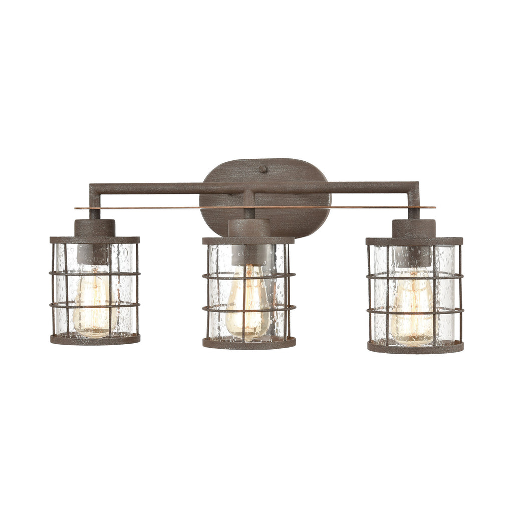 Gilbert 3-Light Vanity Light in Rusted Coffee and Light Wood with Seedy Glass by BD Fine Lighting