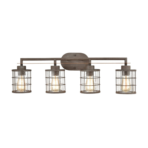 Gilbert 4-Light Vanity Light in Rusted Coffee and Light Wood with Seedy Glass by BD Fine Lighting