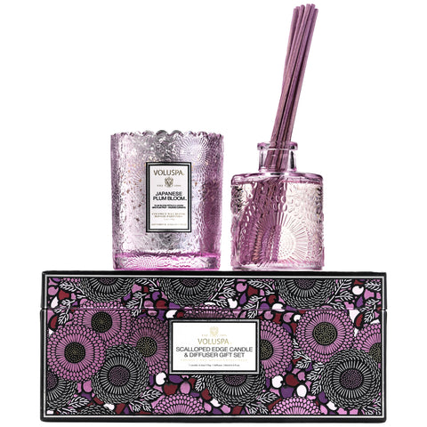 Scalloped Edge Candle & Diffuser Gift Set in Japanese Plum Bloom design by Voluspa