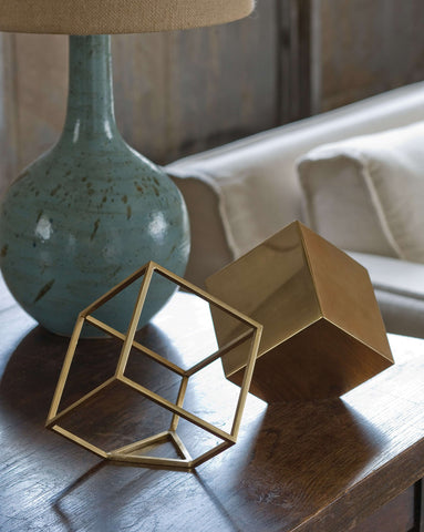Closed Standing Cube in Brass design by Regina Andrew
