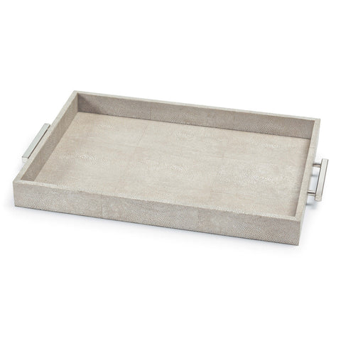 Shagreen Rectangle Tray in Ivory Grey design by Regina Andrew