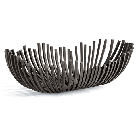 Webbed Bowl Oblong in Blackened Iron design by Regina Andrew