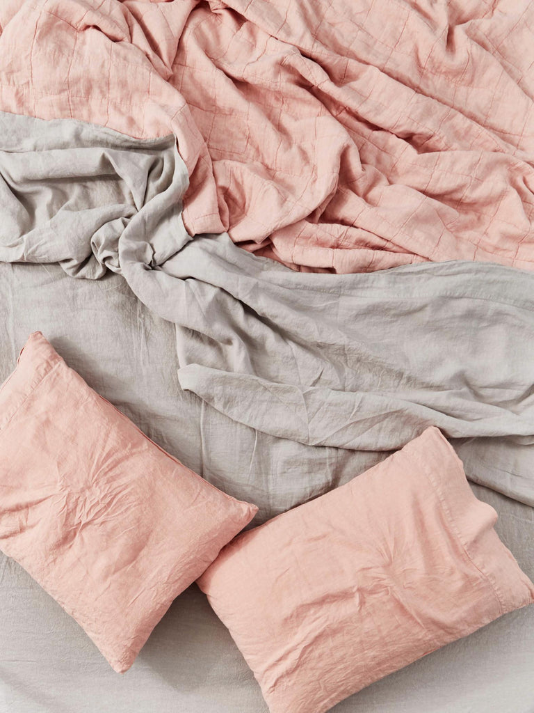 Simple Linen Queen Bedding in Various Colors design by Hawkins New York