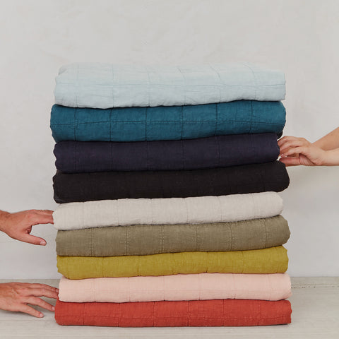 Simple Linen Quilt in Various Colors & Sizes design by Hawkins New York