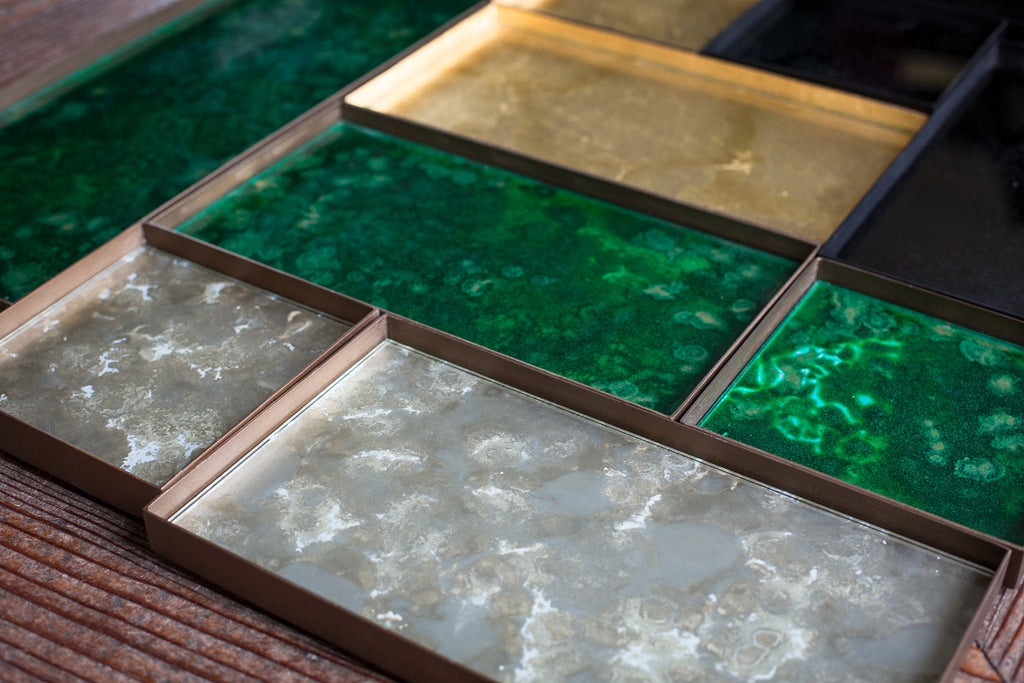 Malachite Organic Rectangular Glass Valet Tray